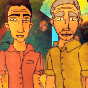 "Two men look at the camera in still from the animated Promundo film ""When Men Change."""