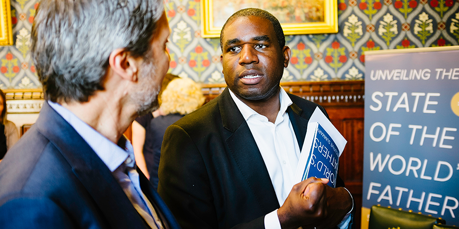 Promundo International Director and State of the World's Fathers co-author Gary Barker speaks with David Lammy, MP and mayoral candidate, at the London launch of the report. Credit: Ashley Jones