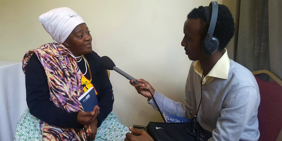 Rosa Namises, Director of Women's Solidarity Namibia, is interviewed by BBC Africa at the Nairobi launch of the report.