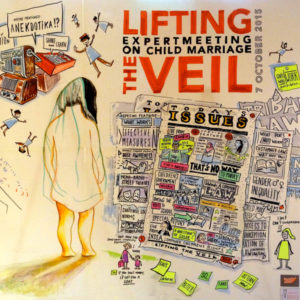 """Cartoon from """"Lifting the Veil: Expert Meeting on Child Marriage."""""""
